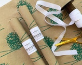 Christmas Wrapping Paper - Screen Printed Pine Cone Gift Wrap in Green, as seen in Country Living Magazine, Kraft Paper Roll, Winter Decor