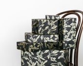 Christmas Wrapping Paper | Black Wrapping Paper, Hand Printed Metallic Floral Black Paper, Holiday Gift Wrap Roll, Paper Table Runner