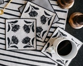 Cloth Cocktail Napkins - Thistle Linen Napkins in Black, Screen Printed Napkins, Christmas Hostess Gift, Winter Table Decor