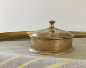 Brass Lidded Container - Vintage Brass Floral Etched Container with Lid