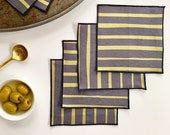 Cloth Cocktail Napkins - Linen Napkins in Metallic Gold Stripes, Set of 4, Engagement Gift, Winter Table Decor, Hostess Gift, FREE SHIPPING