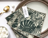 Cocktail Napkins - Tropical Linen Napkins, Set of 4, Screen Printed by Hand, Modern Farmhouse Decor, Hostess Gift, FREE SHIPPING