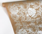 Tropical Wrapping Paper - Screen Printed by Hand, 9 Color Options, Kraft Wrapping, Beach Wedding Gift Wrap, Tropical Paper Table Runner