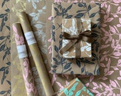 Wrapping Paper - Botanical Screen Printed Gift Wrap, 9 Color Options, Floral Wrapping Paper, Kraft Roll, Paper Table Runner, FREE SHIPPING