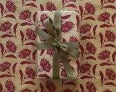 Wrapping Paper Roll - Thistle Gift Wrap in Berry Red, 9 ft Roll, Screen Printed by Hand, Paper Table Runner