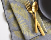 Linen Napkins - Fern Napkin or Placemat, Screen Printed, Metallic Gold, Set of 2, 4, or 8, Cloth Napkins, Winter Hostess Gift, FREE SHIPPING