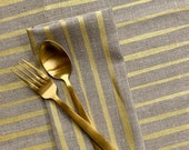 Cloth Napkins - Gold Striped Linen Napkin or Placemat, Screen Printed, Metallic Gold, Set of 2, 4, or 8, Wabi Sabi Home, FREE SHIPPING