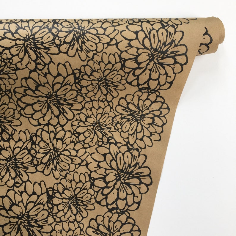 Wrapping Paper Floral Gift Wrap In Black 9ft Roll Hand Printed Floral Kraft Wrapping Paper Table Runner Botanical Paper Free Shipping