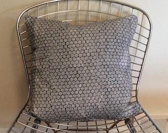 Square black and white hexagonal block print pillow