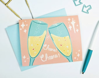 Cheers Clink Fizz Greeting Card  | Congratulations | New Year's | Graduation | Anniversary | Illustration | Folk and Fauna Co.