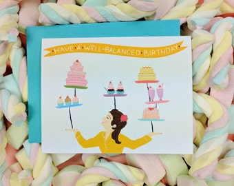 Have a Well-Balanced Birthday Card | Greeting Card | Funny and Clever Card | Folk and Fauna Co.