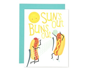 Sun's Out Buns Out Greeting Card | Funny Card | Just Because Card | Cute and Clever Illustration | Folk and Fauna Co
