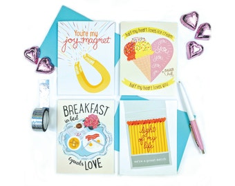 Any 4 Greeting Cards | Assortment Pack | box set | stationery | hand lettered | chic clever cute | paper goods | promo deal