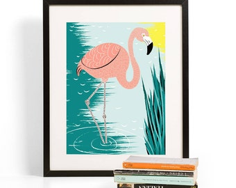 Flamingo in the Marsh Art Print | Folk and Fauna Co.