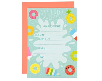Pool Party Fill-in-the-Blank Invitations | Set of 10 | Illustration | Folk and Fauna Co.