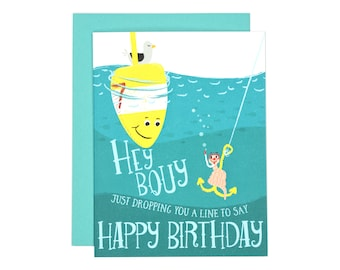 Hey Bouy! Birthday Card | Illustrated Greeting Card | Folk and Fauna Co