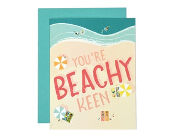 You're Beachy Keen Greeting Card | Just Because Card | Thank You Card | Illustration | Folk and Fauna Co.