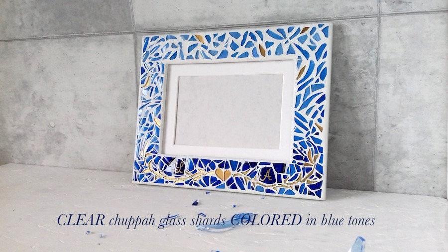 Jewish Wedding Gift: Chuppah Glass Shards Frame Personalized Jewish Wedding
