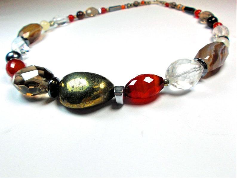 Rock Crystal Smoky Quartz Agate Pyrite Necklace