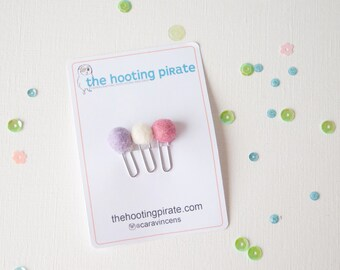 Three Cute little Teeny Pompom Planner Clips