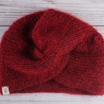 knitted turban hat, women's turban, red winter hat