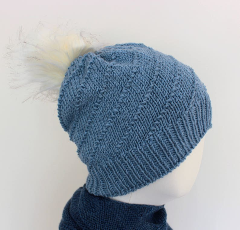 302abd9398c Knitted blue winter hat with off white pompom merino wool