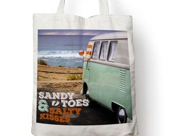 Girafe et Crème Anglaise VW Vintage Rétro Camper Van Sandy Orteils SALTY KISSES Beach qu