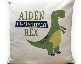 40cm Linen Cushion Cover Dinosaur Home Decor PERSONALISED Jurassic Park Logo
