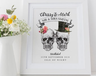 c827b451 Personalised Wedding Print Gift, Mr and Mrs Gothic Skulls Anniversary Gift,  Bride and Groom 8x10 A4 A3, High Quality Colour Print