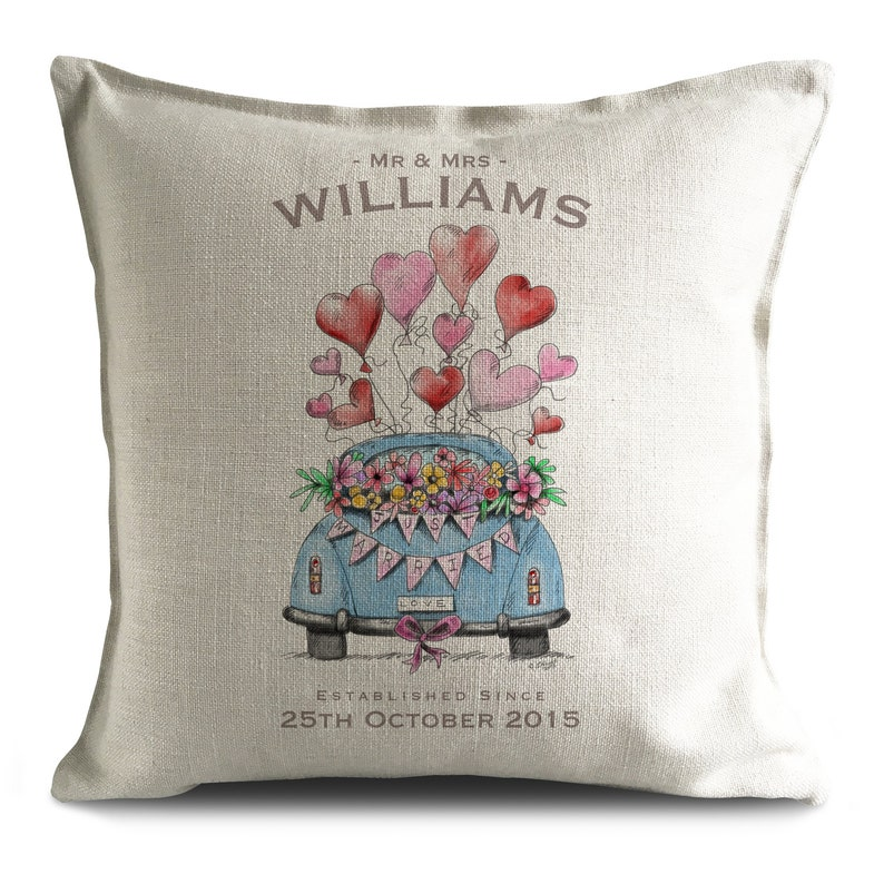 Personalised Wedding Cushion Cover pillow Cover anniversary image 0