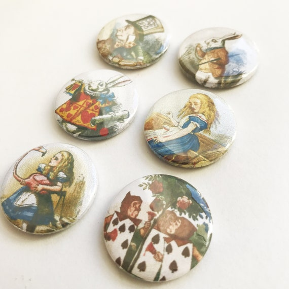 "1 INCH BUTTON BADGE  ALICE IN WONDERLAND /""FOLLOW THE WHITE RABBI/"" 25MM"