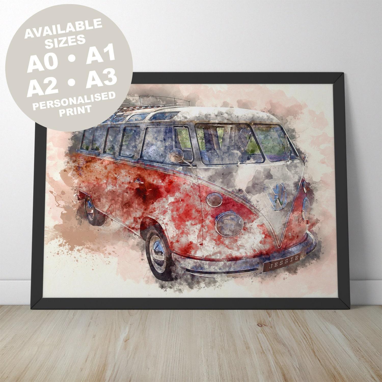 A3 Vintage VW Camper Van Large Poster A2 A4 sizes A0 A1