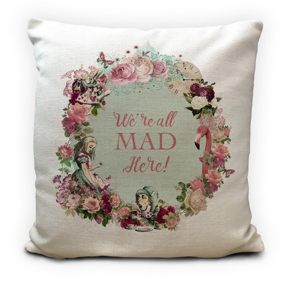 Alice in Wonderland Mad Hatter Bonkers Crème Coussin Chenille 2 tailles disponibles