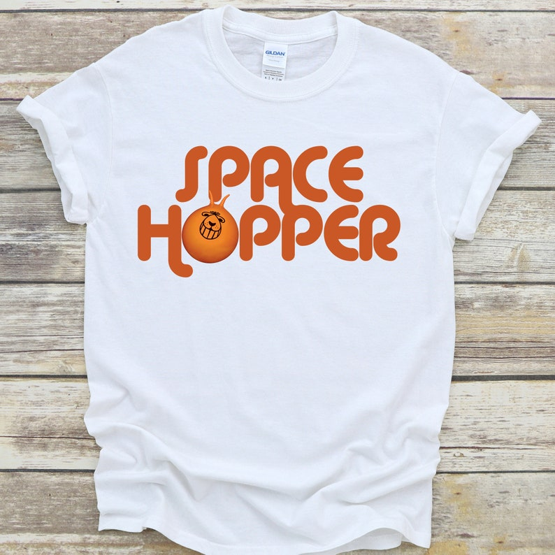 Adults Unisex White Space Hopper Words and Graphic Tee