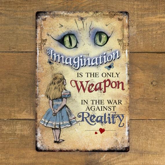 Alice in Wonderland Cheshire Cat Metal Plaque Sign Book Quote Art Decor