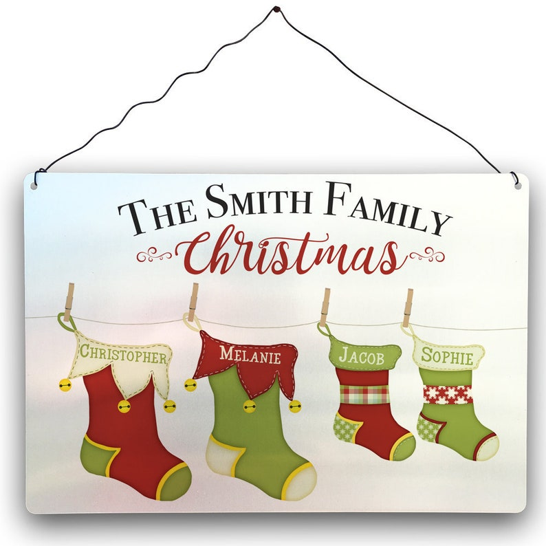 0133bd55b6b Personalised Christmas Family Metal Sign Xmas Festive