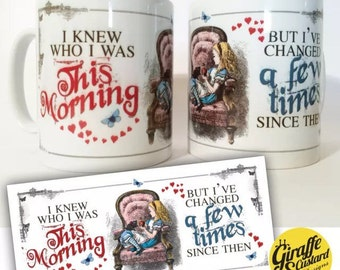 Alice in Wonderland mug Decorative Gift - Mad Hatter Tea Party prop I knew who I was this morning