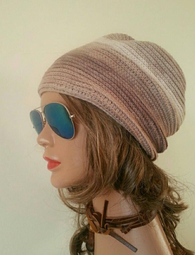 60f47cee6c0 Cotton SLOUCHY Beanie Hat Crochet Brown Melange Mix Chemo Cap