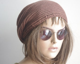 Cotton Chemo Cap - BROWN  Chemo Hat Womens Cancer Headwear and Slouch Beanie
