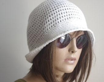 White Cotton Hat, Sunhat, Chemo Hat, Brimmed hat, Winter Hat, Womens Accessories
