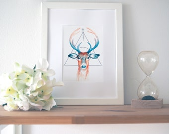 "Deer Print | Fine Art | Paper | Geometrist | Watercolor | Brown | 5"" x 7"" 