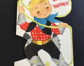 Vintage Childs Birthday Greeting Card Boy With Lasso By Hallmark
