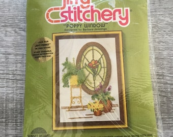 Jiffy Stitchery Crewel Needlepoint Kit Unopened Reading By Lamplight Sunset Designs Small Needlework Kit Dark Brrown with Book and Lamp