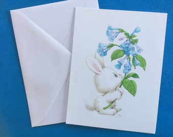 Current inc etsy vintage unused easter notecard bunny blue flowers ruth morehead by current inc m4hsunfo
