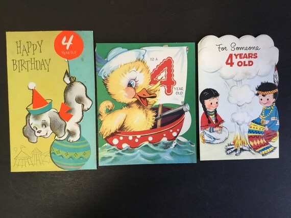 VTG Childs Birthday Greeting Cards For 4 Yr Old Puppy