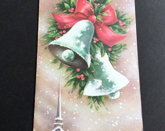 VTG Christmas greeting card, white bells, pink Bow & steeple, Famous Artists Studios