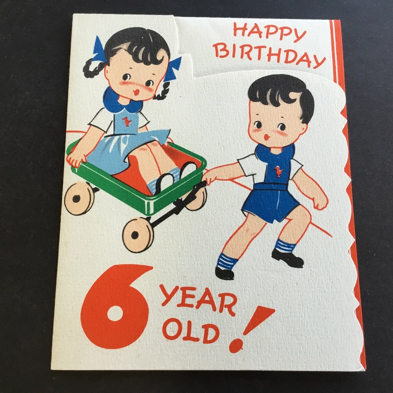 Vintage Unused Birthday Greeting Card To 6 Yr Old Pulling