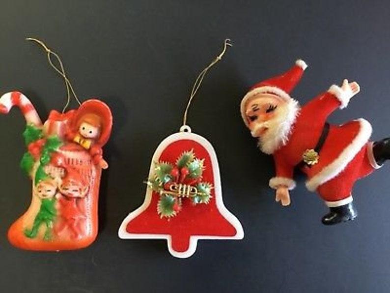 Vintage Plastic Christmas Ornaments Stocking Bell Santa Etsy