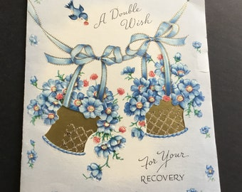 Vintage Get Well Greeting Card, gold baskets, blue flowers, sparrow, Wallace/Brown