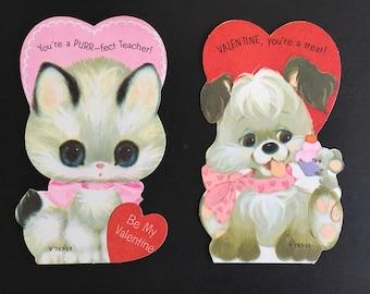 Vintage Classroom Valentine's Day Cards, pup & kitten, Unused